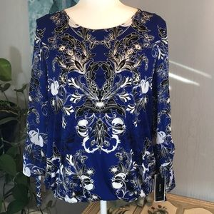 NWT Alfani Blouse with Sheer Sleeves Bubble Hem L